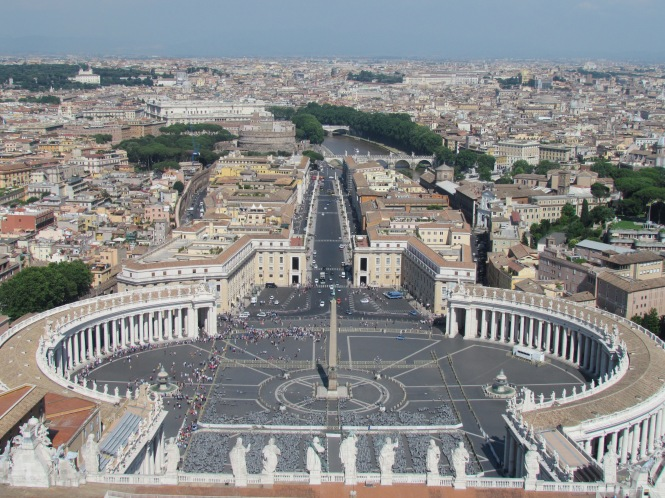 St. Peter's Square and Tiber River, seen from the top of the dome