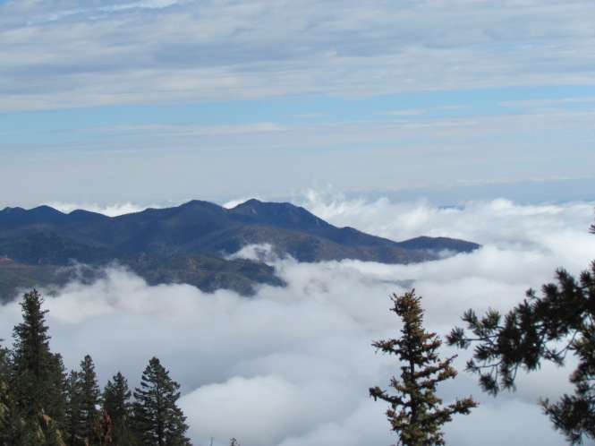 Rampart Range enshrouded in clouds