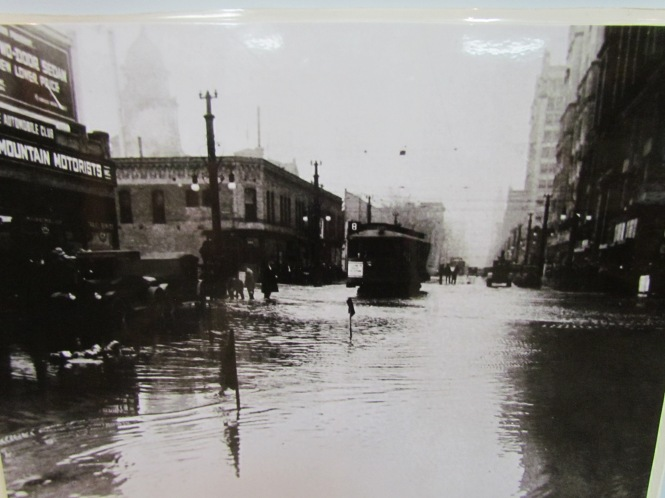 Historic photograph showing the flooding in Denver