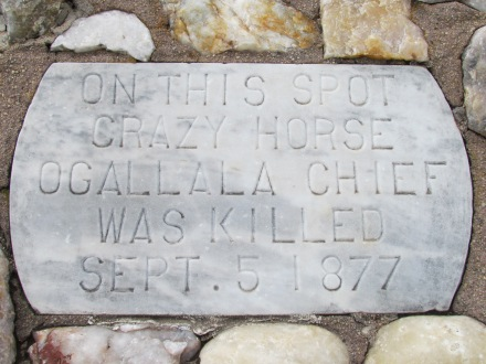 Stone monument at the site of the murder of Crazy Horse