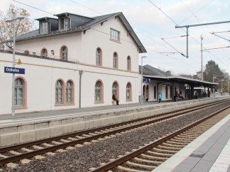 Train station and railroad tracks