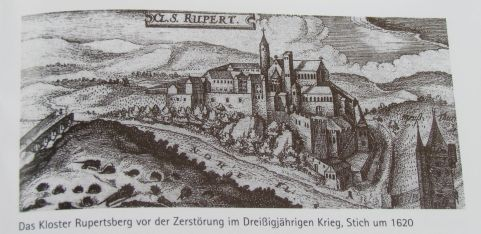 Cloister Rupertsberg ca. 1620, before its destruction. Photographed from a brochure.